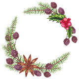 Watercolor Wreath with Cinnamon and Christmas Tree - 232268324