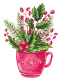 Christmas Composition with Watercolor Cup and Holly - 232268346