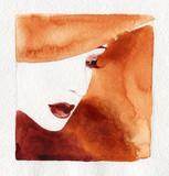 beautiful woman. fashion illustration. watercolor painting - 232269362