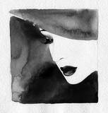 beautiful woman. fashion illustration. watercolor painting - 232269382