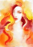 beautiful woman. fashion illustration. watercolor painting - 232269537