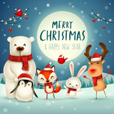 Merry Christmas and Happy New Year! Christmas Cute Animals Character. Happy Christmas Companions. Polar Bear, Fox, Penguin, Bunny and Red Cardinal Bird under the moonlight. Winter landscape. - 232272720