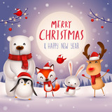 Merry Christmas and Happy New Year! Christmas Cute Animals Character. Happy Christmas Companions. Polar Bear, Fox, Penguin, Bunny and Red Cardinal Bird under the moonlight. Winter landscape. - 232272726