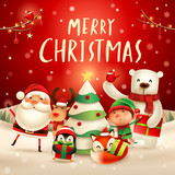 Merry Christmas! Happy Christmas companions. Santa Claus, Reindeer, Elf, Polar Bear, Fox, Penguin and Red Cardinal Bird in Christmas snow scene. - 232273117