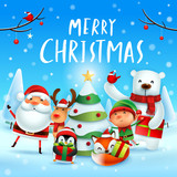 Merry Christmas! Happy Christmas companions. Santa Claus, Reindeer, Elf, Polar Bear, Fox, Penguin and Red Cardinal Bird in Christmas snow scene. - 232273162