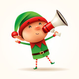 Little elf with megaphone. Isolated. - 232273567