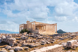 Well saved Ancient building in Acropolis of Athens with spectacular clouds on back.