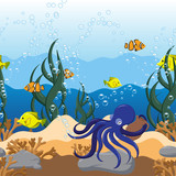 Underwater seascape seamless border with algae, octopus, jugs, fish and stones. Hand Drawn Vector illustration - 232278544