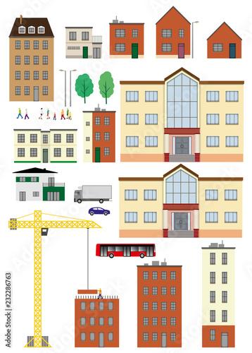 Poster Planche maison immeuble personnages