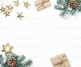 Christmas tree branches gifts ornaments Winter holidays background