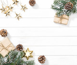Christmas tree branches gifts ornaments - 232288775