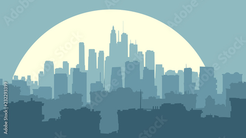 Poster Abstract illustration of big city at night with moon.