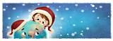 niño y planeta tierra felices en navidad - 232298537