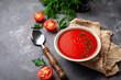 Tomato vegetarian soup gazpacho in bowl