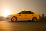 3D rendering of a tellow taxi on motion - 232302922