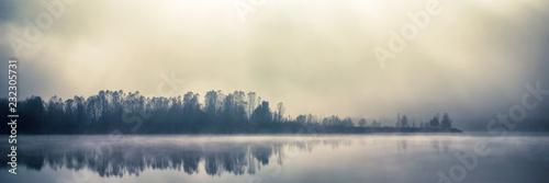 Mist fall lake in Kyiv, Ukraine 2018
