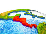 Central America on 3D Earth with visible countries and blue oceans with waves. - 232310158