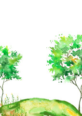 Watercolor summer landscape. Green tree on a bright grass. On a white background. Green tree on a hill with grass, plants. Country landscape background © helgafo