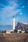 The summer view of lighthouse in San Vito Lo Capo in Sicily, Italia - 232316513