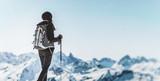 Athletic woman trekking in a winter landscape - 232318113
