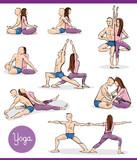 yoga in couple illustration set - 232333922