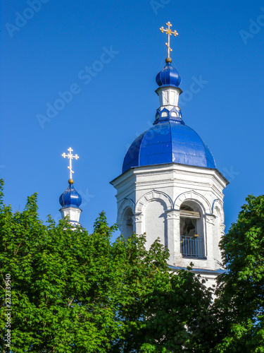 Holy cross Church-bell Tower and cross dome. Leningrad oblast, a village in Opole