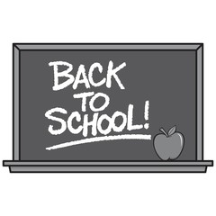 Black and White Back to School Blackboard - A vector cartoon illustration of a school Blackboard with an Apple.
