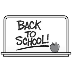 Black and White Back to School Whiteboard - A vector cartoon illustration of a school Whiteboard with an Apple.