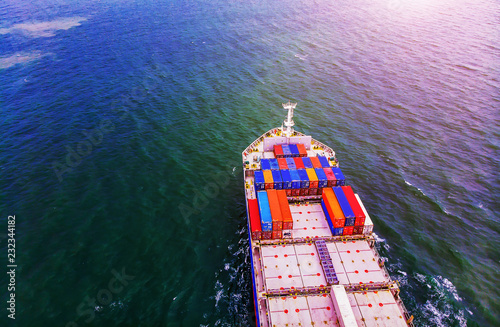 Logistics and transportation of Container Cargo ship and Cargo import/export and business logistics,Aerial view from drone