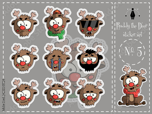 Sticker Set of Ruddy the deer 5 vector - 232345724