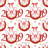 Seamless pattern with Cute funny pig. Happy New Year. Chinese symbol of the 2019 year. Excellent festive gift card. Vector illustration on white background.