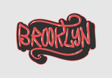 Brooklyn New York Usa  Label Sign  Logo Hand Drawn Lettering for t shirt or sticker Vector Image