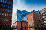 HAMBURG, GERMANY - MARCH, 2018: The beautiful Elbe Philharmonic building a concert hall located in the HafenCity quarter of Hamburg - 232350964