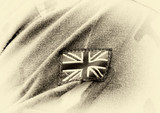 UK patch flag on soldiers arm. UK military uniform. United Kingdom troops - 232351171