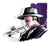 Trumpet player on grunge background - 232352941