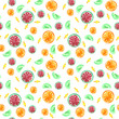 watercolor seamless raster pattern with different sweets, dots  - 232353176