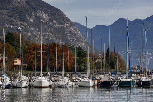 yachts in the iseo lake italy