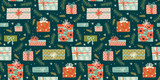 Christmas and Happy New Year seamless pattern with gift boxes. - 232359744
