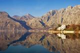 Mountains reflected in the water, winter Mediterranean landscape. Montenegro, Adriatic Sea, Bay of Kotor, Dobrota - 232364919