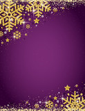 Purple christmas background with frame of gold glittering snowflakes, vector illustration - 232364973