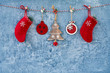 Christmas background. Traditional Christmas ornaments on blue background. Copy space.