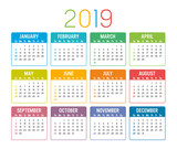 Year 2019 calendar vector template - 232380144