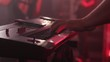 Rock band keyboard, keyboard player, fingers close up, nightclub view in slow motion