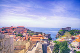Medieval walls and harbor of Dubrovnik - 232384960