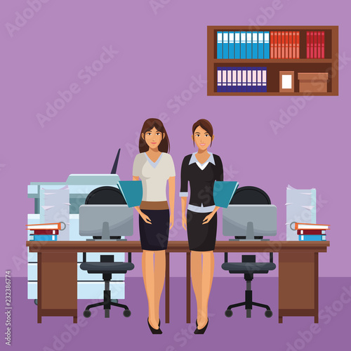 Wall mural business woman coworkers cartoon