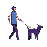 man walking with her pet dog