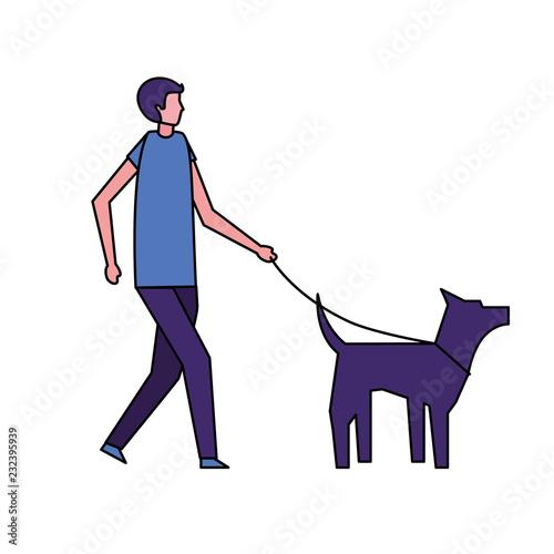 man walking with her pet dog