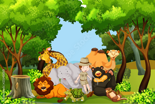 Plakat A zoo keeper with animals