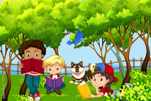 International children kids reading in the park - 232400754