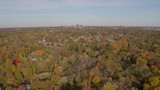 Flyover of autumn trees with a small church and a city skyline on the horizon. - 232402996